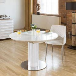 Luxury Extending White Glass Topped Round Dining Table from Quatropi