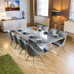 Huge Eight Seat Dining Set 2.2m Grey Glass Table 8 Mid Grey Chairs
