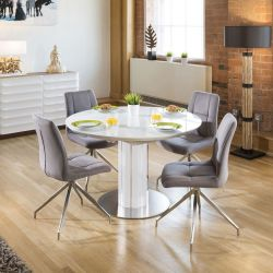 Modern Extending Dining Set Oval / Round Glass Wht Table 4 Gry Chairs