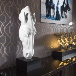 White Horse Head Ornament Glossy Polyresin With Black Stand Christmas