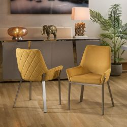 Pair of Modern Luxury Mustard Carver Chairs Brushed Stainless Steel