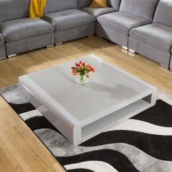 Large Square Grey Gloss Lamp / Coffee / Side Table Glass Top Modern