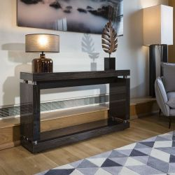 Console / Hall Table in High Gloss / Glossy Black Grain Lacquer Finish