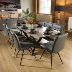 Extending Grey Ceramic Dining Table + Straight Bench and 5 Chairs