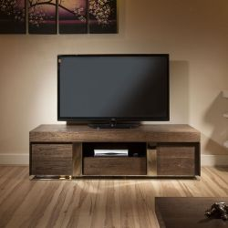 Modern TV Stand / Cabinet / Unit Large 1.6 mtr Elm Wood & Stainless
