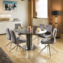 Extending Round Oval Dining Set Grey Gloss/Glass Top Table 6x7428 Grey