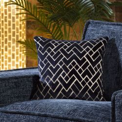 Contemporary Velvet Layer Scatter Cushion Pillow 430mm Square Navy