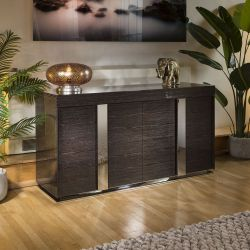 Modern Sideboard / Cabinet / Buffet in Lacquered Black Grain 1.6mtr 912M