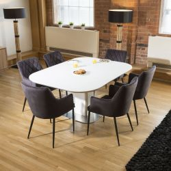 Dining Set White Glass Square Extending Table +6 Charcoal Carver Chair