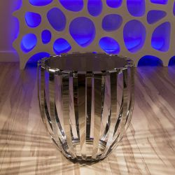 Modern Round Side / Lamp Table / Tables Glass / Stainless Steel 185