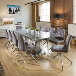 Large Ten Seat Dining Set 2.2m Grey Glass Table 10 Grey Swivel Chairs