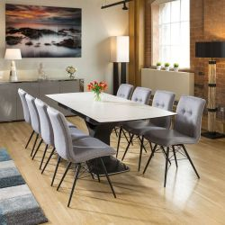 Huge Extending Dining Table White Marble Ceramic +8 Grey Fabric Chairs