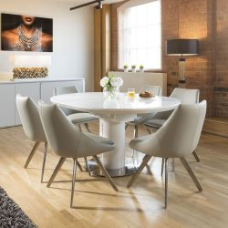 Extending Round Oval Dining Set White Gloss Table 6 Ice Grey Chairs