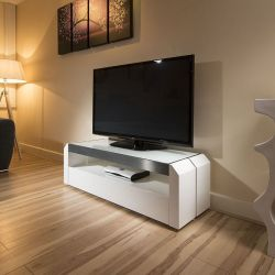 TV Stand / Cabinet / Unit White Gloss / Glass Top, Alum 1.3mtr 701 New