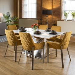 Stunning 6 Seater Dining Set White / Glass Table With 6 Mustard Chairs