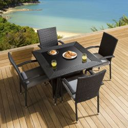 Outdoor Dining Set Square Table 4 Armed Black Chairs Grey Cushions