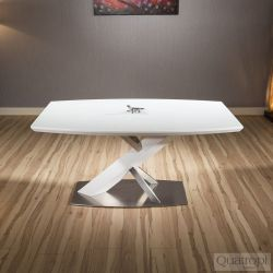Modern Dining Table White glass Top / White Curved edges 1600x900mm