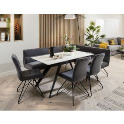 Ceramic Corner Dining Table Grey Bench Set With 3 Chairs White Marble Effect Left
