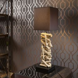 Stunning Unique Modern Stacked Driftwood table lamp Black shade Lusaka