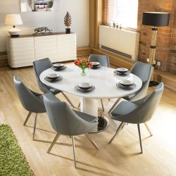 Extending Round Oval Dining Set White Gloss Table 6 Medium Grey Chairs