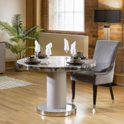 Round 1200mm Dining Table Grey Gloss Base Glass Top & Polished Steel