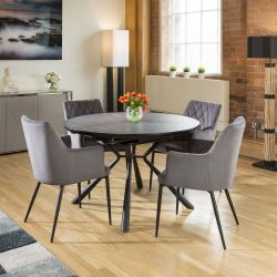 Round Slate Effect Melamine Dining Table Extends +4 Grey Carver Chairs