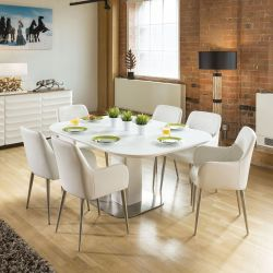 Stunning Dining Set White Glass Square Extending Table +6 White Chairs