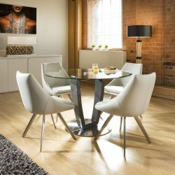 Modern Round Glass Top Dining Set Grey Table Base + 4 Ice Grey Chairs