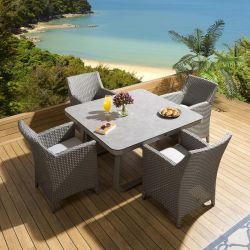 Square Grey Ceramic Glass Dining Table +4 Rattan Chairs Grey Silver