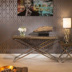 Luxury Hall / Console Table Solid Reclaimed Hardwood Glass Top 140x40c