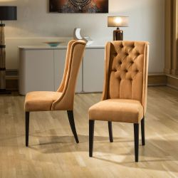 Pair of Exdisplay Luxury Orange Velvet buttoned Dining chairs