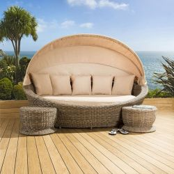 Luxury Oval Garden Daybed Brown Rattan Beige Cushion Canopy 2 x Stools