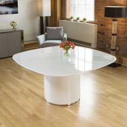 Stunning Quatropi Large Square Dining Table White High Gloss Glass Top