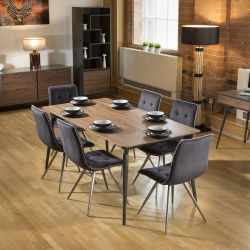 Extending Dining Set Walnut / Grey Table and 6 Grey Quilted Chairs