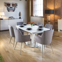 Dining Set White Glass Top Extending Table + 6 Ice Grey Carver Chairs