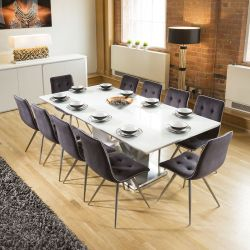 Massive 10 Seater Dining Set 2.2mt White Glass Top Table 10 Grey Chairs