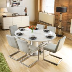 Extending Round Oval Dining Table Set White Gloss + 6 Ice Grey Chairs