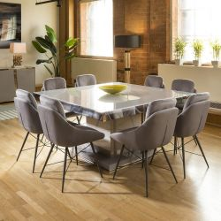Massive Grey & Chrome Dining Set Glass Top 8 Grey Chairs 1965
