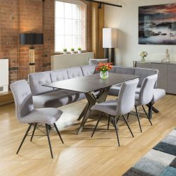 Extending Dining Table Charcaol Grey Ceramic + 3 Chairs & Corner Bench