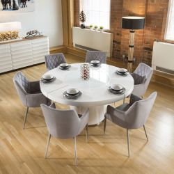 Large Round White Gloss Dining Table Lazy Susan, 6 Ice Gry Chairs 1648