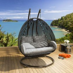 Luxury Outdoor 2 Person Garden Hanging Chair Black / Grey Cover Frame