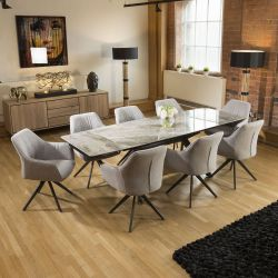 Italian Ceramic Grey Marble Dining Set With 8x Light Grey Carver Chair