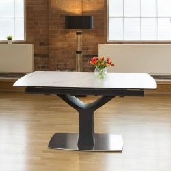 Huge Modern White Ceramic Dining Table Rectangle Extends 1.6 - 2.1m