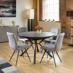 Round Slate Effect Melamine Dining Table Extends +4 Grey Fabric Chairs