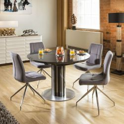 Extending Round Oval Dining Set Grey Gloss/Glass Top Table 4x7428 Grey