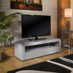 Modern Grey TV Cabinet Grey Gloss 130 cm Unit / Stainless with Glass Top