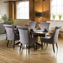 Extending Grey Ceramic Dining Table + 8 Large Grey Roll Top Chairs