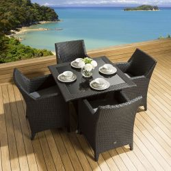 Rattan Patio Dining Set Square Table 4 Chairs Black Grey Cushion New