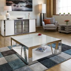Modern Luxury Large Square White Coffee Table Glass, Stainless Steel V