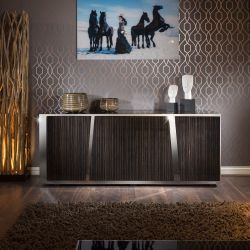 Luxury Ebony 4 Door Sideboard Glass Top Stainless Frame 2mt No Assy V
